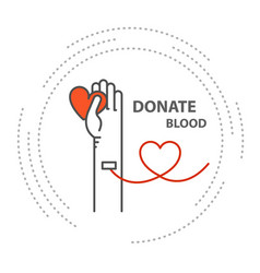donate blood - hand with tube in vein blood donor vector image
