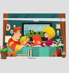 Family watching tv at home vector