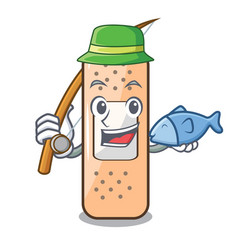 Fishing sticking plaster on the mascot table vector