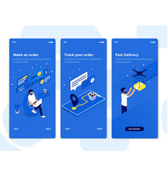 flat design oneboarding concepts - isometric 2 vector image