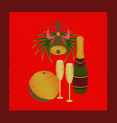 flat shading style icon champagne bell vector image