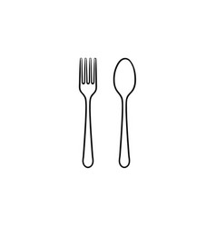 fork and spoon hand drawn sketch icon vector image