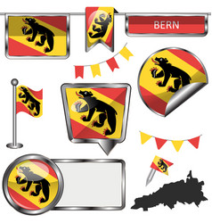 glossy icons with flag of bern vector image