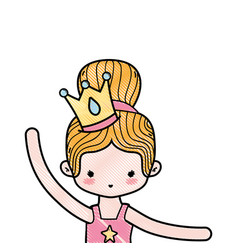 Grated girl practice ballet with bun hair and vector