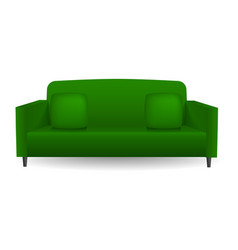green soft sofa mockup realistic style vector image