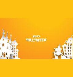 halloween background with haunted house in paper vector image