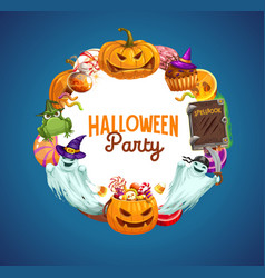 Halloween pumpkins trick or treat candies ghosts vector