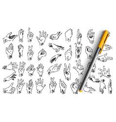 hand gestures doodle set vector image