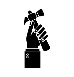 Hand holding hammer tool construction pictogram vector