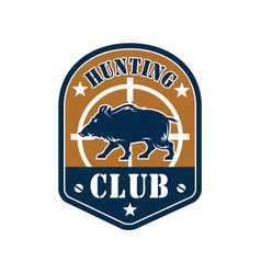 hunting club shield badge with wild boar vector image