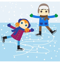 Ice skating boy and girl vector