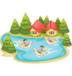 Kids in the lake vector