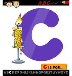 Letter c with candle cartoon vector