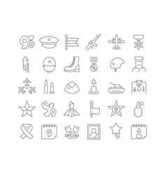 Line icons victory day vector