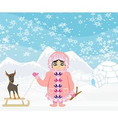 Little Eskimo girl and her dog vector