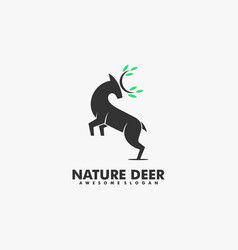 Logo nature deer silhouette style vector
