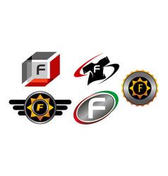 Logotype f modern template set vector