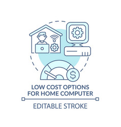 Low cost options for home computer turquoise vector