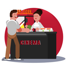 man buys pop corn vector image