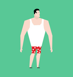 man in briefs and singlet isolated guy before vector image