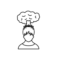Man with cloud over head icon outline style vector image
