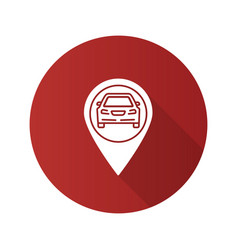 Map pinpoint with car inside flat design long vector