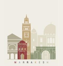 marrakesh skyline poster vector image