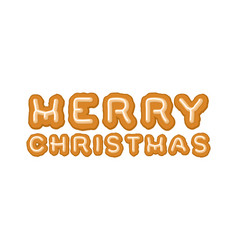 merry christmas gingerbread typography logo vector image