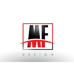 Mf m f logo letters with red and black colors and vector
