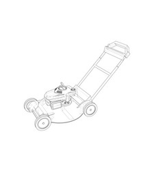 Outline lawn mower wire-frame style vector
