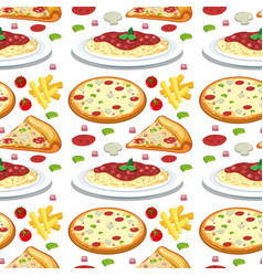 pasta and pizza seamless pattern vector image