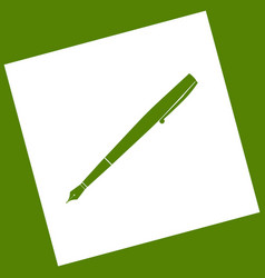 Pen sign white icon obtained vector