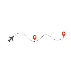 Plane path with location pins vector