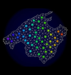 Polygonal network mesh map of mallorca with vector