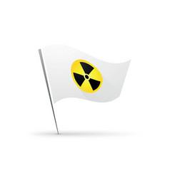 radiation round sign on white flag vector image