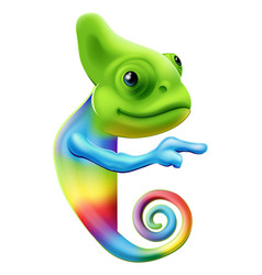 Rainbow chameleon pointing vector