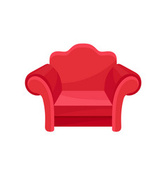Red armchair living room furniture interior vector