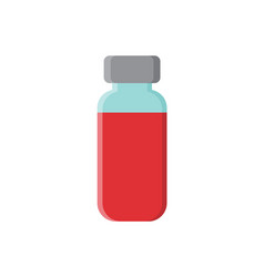 red vaccine in glass bottle with sealed metal top vector image