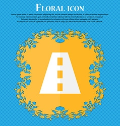 Road Floral flat design on a blue abstract vector image