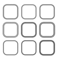 rope set of square frames collection of thick vector image