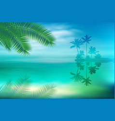 sea with island and palm trees vector image