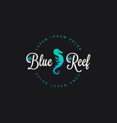 seahorse reef logo icon on black vector image