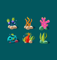 seaweed and underwater plants set colorful vector image