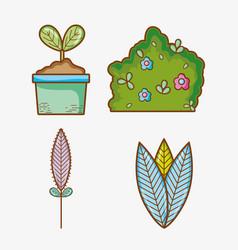 set garden elements vector image