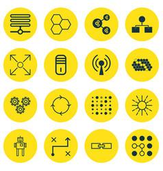 Set of 16 robotics icons includes computing vector