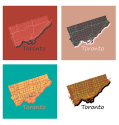 set of flat color map of toronto canada city plan vector image