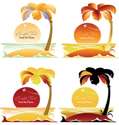 Set of Tropical landscapes with palm trees vector