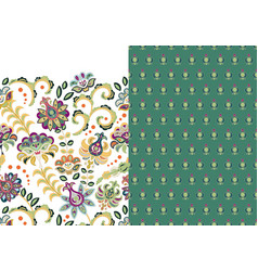 set two horizontal seamless floral pattern vector image