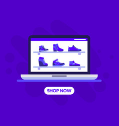 shoes store landing page template female footwear vector image