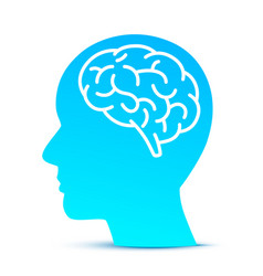 Silhouette head with the brain on the blue vector